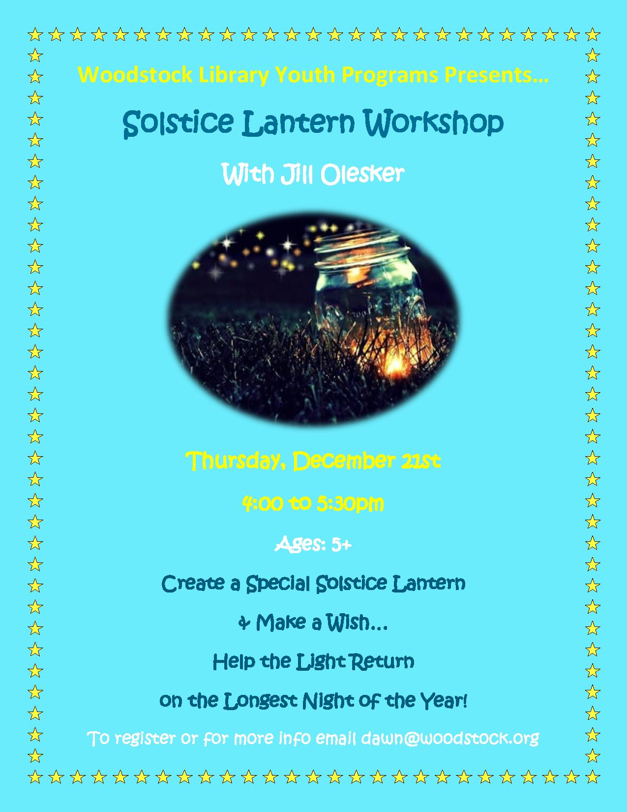 Solstice Lantern Workshop @ Woodstock Library | Woodstock | New York | United States