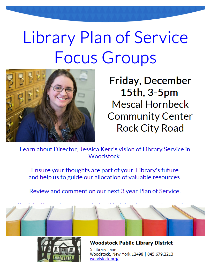 Library Plan of Service Focus Groups @ Woodstock Community Center - Mescal Hornbeck | Woodstock | New York | United States