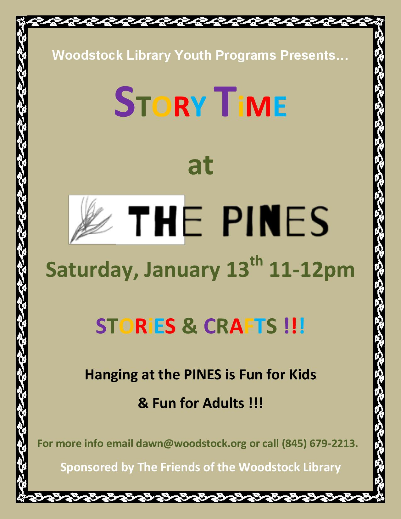 Postponed Story Time At The Pines @ Woodstock Library | Woodstock | New York | United States