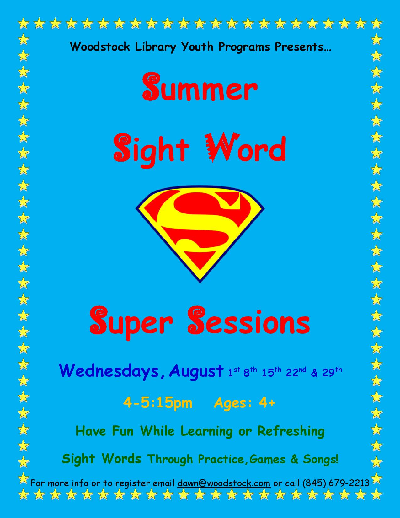 Woodstock Public Library District » Summer Sight Word Super Sessions