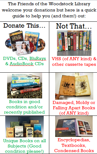 Donations for Friends Book Sales: | Woodstock Public Library